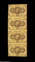Fractional Currency:First Issue, Fr. 1230 5¢ First Issue Vertical Strip of Four Extremely Fine. A bright First Issue strip folded between the notes....