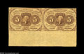 Fractional Currency:First Issue, Fr. 1230 5¢ First Issue Pair Extremely Fine. The full sheet selvage is still attached at bottom, making for a striking overa...