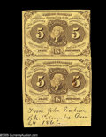 """Fractional Currency:First Issue, Fr. 1230 5¢ First Issue Vertical Pair Extremely Fine. The lower sheet selvage bears the penned notation """"From John Graham P...."""