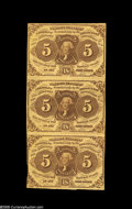 Fractional Currency:First Issue, Fr. 1230 5¢ First Issue Vertical Strip of Three Extremely Fine. A 5¢ First Issue trio with better color and a single margin ...