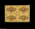 Fractional Currency:First Issue, Fr. 1230 5c First Issue Block of Four Very Fine. The main folds are found between the notes on this block of four....