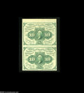 Fractional Currency:First Issue, Fr. 1242 10c First Issue Vertical Pair Choice New. This pair has a jumbo top margin, while the right edge skirts the frame l...