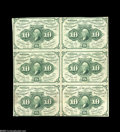 Fractional Currency:First Issue, Fr. 1242 10¢ First Issue Block of Six Extremely Fine. A 10¢ First Issue block of six with a fold in the vertical margin betw...