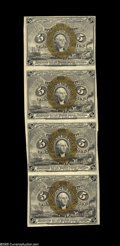 Fractional Currency:Second Issue, Fr. 1232 5¢ Second Issue Vertical Strip of Four About New. A nice Second Issue multiple with bright and well-centered bronze...