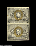 Fractional Currency:Second Issue, Fr. 1232 5¢c Second Issue Vertical Pair About New. Nice margins on both pieces and only a single light fold....