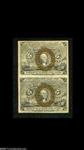 Fractional Currency:Second Issue, Fr. 1233 5c Second Issue Vertical Pair Choice New. This duo sports bold bronzing....