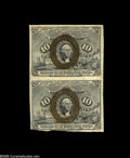 Fractional Currency:Second Issue, Fr. 1246 10¢ Second Issue Vertical Pair Extremely Fine. The lower note of the pair has been irregularly trimmed from the no...
