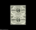 Fractional Currency:Third Issue, Fr. 1227 3¢ Third Issue Vertical Pair Choice New. Dark curtain 3¢ multiples are very scarce, and this pair is a beauty. With...