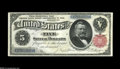 Large Size:Silver Certificates, Fr. 267 $5 1891 Silver Certificate Choice New. The top margin is a hair too tight for the Gem grade, and the upper left corn...