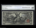 Large Size:Silver Certificates, Fr. 269 $5 1896 Silver Certificate CGA Gem Uncirculated 66. Thislovely $5 Educational has no prior auction history and only...