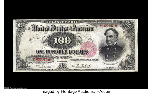 Large Size:Treasury Notes, Fr. 378 $100 1891 Treasury Note Very Fine. One of the rarest majortypes in all of U.S. Currency, with only an even dozen ex...