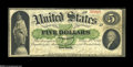 Large Size:Demand Notes, Fr. 1 $5 1861 Demand Note Fine. This solid Fine example looksattractive and problem-free at first glance on the face, but t...