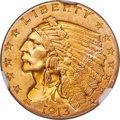 Indian Quarter Eagles, 1913 $2 1/2 MS65 NGC. CAC....