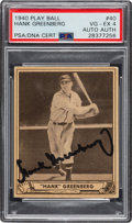 Baseball Collectibles:Others, 1940 Play Ball Signed Hank Greenberg #40 PSA VG-EX 4. ...
