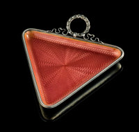 A Fabergé Guilloché Enameled Silver Triangular Vide Poche Tray, St. Petersburg, 1899-1908 Marks: FABERGE &...