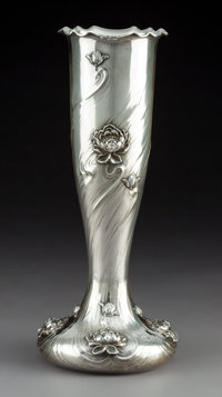 A Black, Starr & Frost Art Nouveau Silver Vase with Peony Motif, New York, circa 1900 Marks: BLACK STARR & FROS...