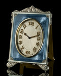Decorative Arts, French:Other , A French Guilloché Enameled Silver Easel-Back Desk Clock, circa1920. Marks to back: SIYLO, (weevil), ARGENT(partia...