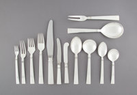 A One Hundred and Thirty-Seven-Piece Georg Jensen Acadia Pattern Silver Flatware Service