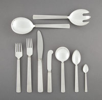 An Eighty-Six-Piece Georg Jensen Bernadotte Pattern Silver Flatware Service for Twelve</