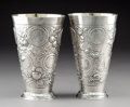 Silver & Vertu:Hollowware, A Pair of German Gilt Washed Silver Beakers with Inset Coins, circa 1900. Marks: (crescent-crown), 800, (various) . 7-1/... (Total: 2 Items)