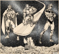 Original Comic Art:Illustrations, Jim Starlin and Alan Weiss 1976 Marvel Calendar NovemberIllustration Adam Warlock, Silver Surfer, and Captain Mar...