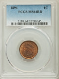 Indian Cents, 1894 1C MS64 Red and Brown PCGS. PCGS Population: (280/49). NGC Census: (190/70). CDN: $250 Whsle. Bid for problem-free NGC...