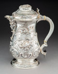 Silver & Vertu:Hollowware, A Very Large Augustus Piesse Victorian Repoussé Silver Flagon, London, 1862. Marks: (lion passant), (leopard), (duty mark), ...