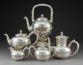 Silver Holloware, American:Tea Sets, A Five-Piece Gorham Mfg. Co. Silver Tea and Coffee Service,Providence, Rhode Island, 1884. Marks: (lion-anchor-G),STERLI... (Total: 5 Items)