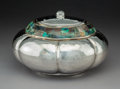 Silver & Vertu:Hollowware, A Los Castillo Hardstone-Mounted Silver-Plated Covered Bowl, Taxco, Mexico, 20th century. Marks: TA-01, LOS CASTILLO TAXCO...