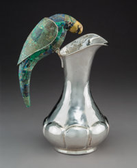 A Los Castillo Silver-Plated Water Pitcher with Mixed Metal and Malachite Parrot-Form Handle, Taxco, Mexico, 20th cen