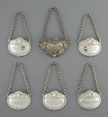 A Set of Five Paul Storr Silver Wine Tags with Additional Silver Tag, London, England, 1816 Marks to Paul Storr w