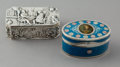 Silver Smalls:Snuff Boxes, Two Continental Silver and Enameled Snuff Boxes, 19th century.Marks: (various). 1-1/8 x 3-1/4 x 2 inches (2.9 x 8.3 x 5.1 c...(Total: 2 Items)