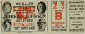 Boxing Collectibles:Memorabilia, 1910 James Jeffries vs. Jack Johnson Heavyweight Championship Full Ticket....