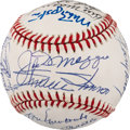 Baseball Collectibles:Balls, 1980's Hall of Famers & Stars Multi-Signed Baseball....