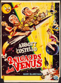 """Movie Posters:Comedy, Abbott and Costello Go to Mars (Universal International, 1953).Trimmed Belgian (13.5"""" X 19"""") Bos Artwork. Comedy.. ..."""