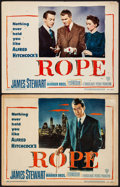 "Movie Posters:Hitchcock, Rope (Warner Brothers, 1948). Title Lobby Card & Lobby Card(11"" X 14""). Hitchcock.. ... (Total: 2 Items)"