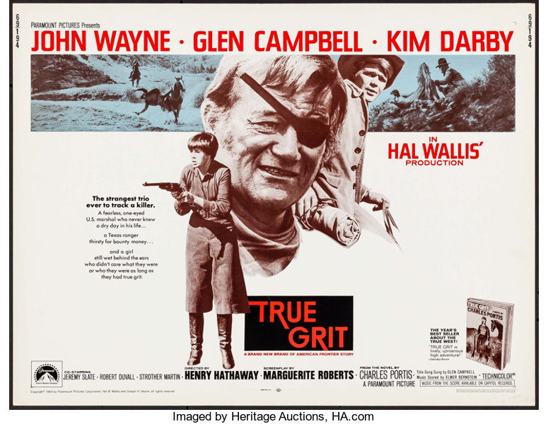 Movie Posters:Western, True Grit (Paramount, 1969). Half Sheet (22
