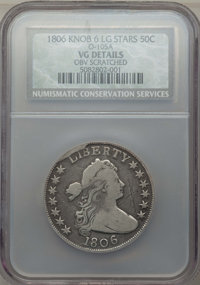 1806 50C Knob 6, Large Stars, O-105a, T-5, R.2, -- Obverse Scratched -- NCS. VG Details. NGC Census: (0/22). PCGS Popula...