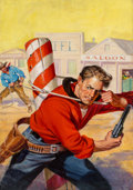 Paintings, Richard Lillis (American, 1899-1995). Holding Off the Enemy, Big-Book Western magazine cover, October 1947. Oil on canva...