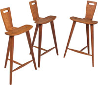 Style of Tage Frid (Danish, 1915-2004) Three Barstools, circa 1970s Walnut 33-1/4 x 19-3/4 x 14-1