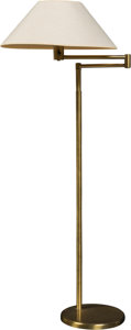 Lighting:Lamps, Walter Von Nessen (German-American, 1899-1943). Swing Arm Floor Lamp, circa 1950, Nessen Studio. Brushed brass, fabric, ...