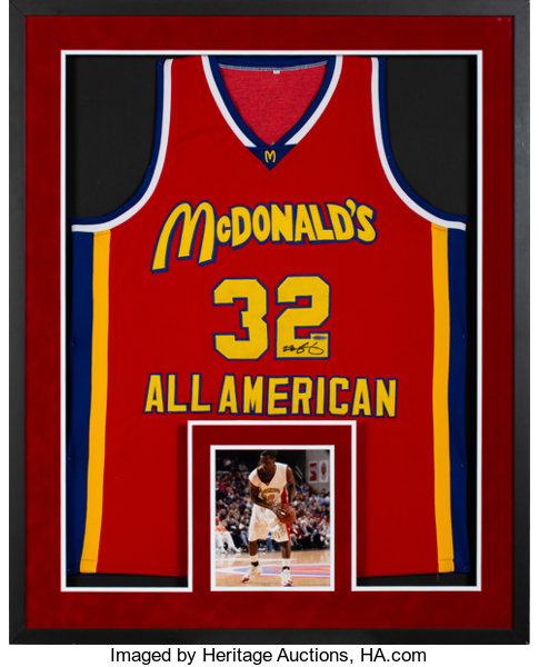 beea77e29ba Basketball Collectibles:Uniforms, 2000's LeBron James Signed UDA McDonald's  All-American JerseyDisplay.