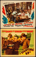 "Movie Posters:War, The Fighting 69th & Other Lot (Warner Brothers, 1940). LinenFinish Lobby Card & Lobby Card (11"" X 14""). War.. ... (Total: 2Items)"