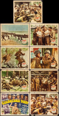 "Movie Posters:War, Guadalcanal Diary (20th Century Fox, 1943). Fine-. Lobby Card Set of 8 & Lobby Card (11"" X 14""). War.. ... (Total: 9 Items)"