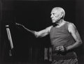 Photographs:Gelatin Silver, André Villers (French, 1930-2016). Picasso, 1955. Gelatinsilver, printed later. 11-1/4 x 14-3/4 inches (28.6 x 37.5 cm)...