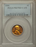 Proof Lincoln Cents, 1955 1C PR67 Red Cameo PCGS. PCGS Population: (135/19). NGC Census: (178/88)....