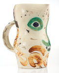 Sculpture, Pablo Picasso (1881-1973). Face with Circles, 1969. Partially glazed white earthenware pitcher, with handpainting and gr...