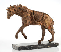 Salvador Dalí (1904-1989) Horse saddled with time, 1980 Bronze with gold patina 17-1/2 x 22-1/2 x