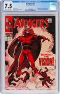 Silver Age (1956-1969):Superhero, The Avengers #57 (Marvel, 1968) CGC VF- 7.5 Off-white to whitepages....