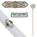 Estate Jewelry:Lots, Diamond, Synthetic Sapphire, Glass, Platinum, Platinum-Topped Gold,Gold Jewelry. ... (Total: 4 Items)